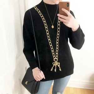 St. John Vintage Embroidered Key Necklace Sweater